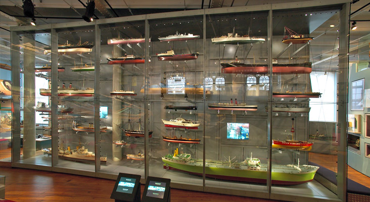 our custom showcase in a museum display