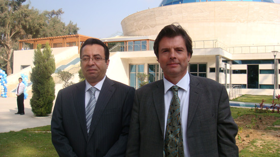 Abdel Monim (left) pictured outside the museum with architect Michael Mallinson
