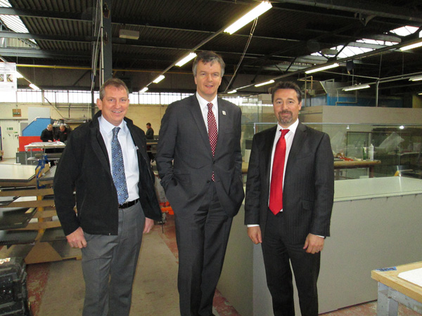 Michael (middle) photographed with Jim and Mike during his tour of our factory